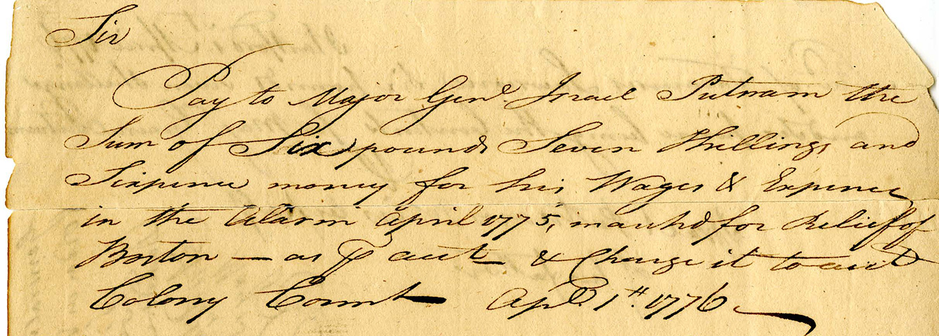 Payment_to_Israel_Putnam_for_Services_during_the_Lexington_Alarm_1776